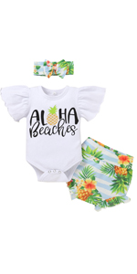 newborn hawaiian outfit girl Aloha Beaches Pineapple Outfit Girls Baby 1st Birthday Outfits