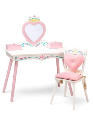 Princess Wooden Vanity and Chair Set
