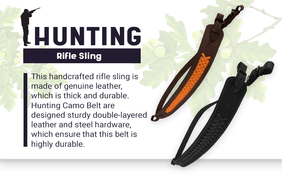 hunting belt gun sling leather strap shotgun rifle  hunting ammo  carry slingshot khaki