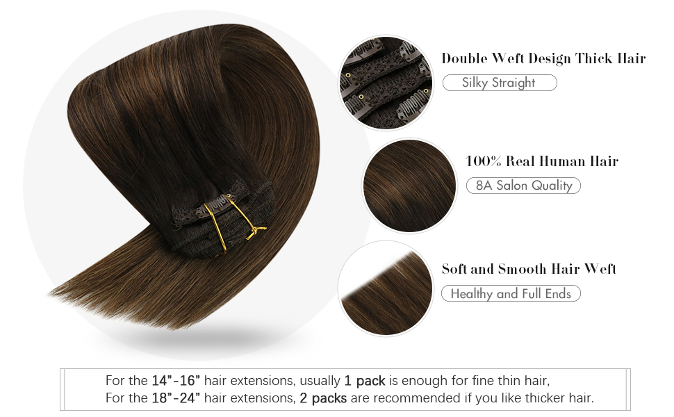 clip in brown balayage hair extensions