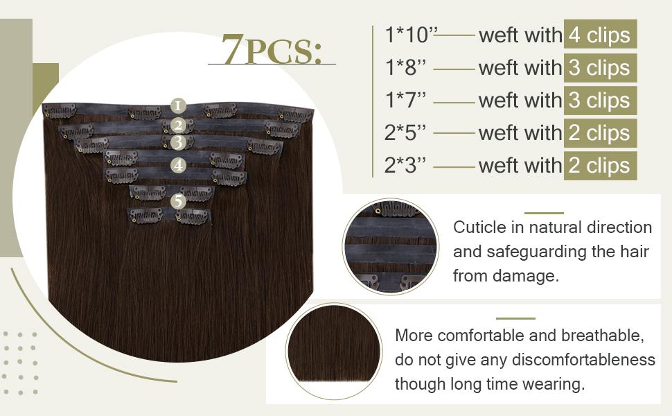 7pcs pu weft clip n hair extensions