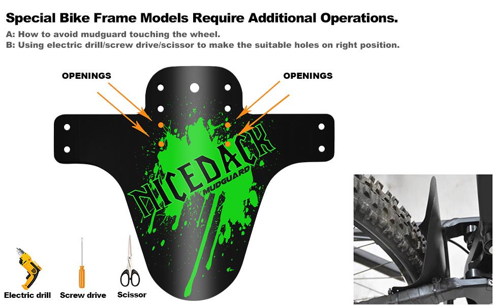 NICEDACK Bike Fender, MTB Mud Guard Front and Rear Compatible Bicycle Mud Guard Set