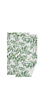 Tropical Plant Green Leaves Face Towel Set of 2