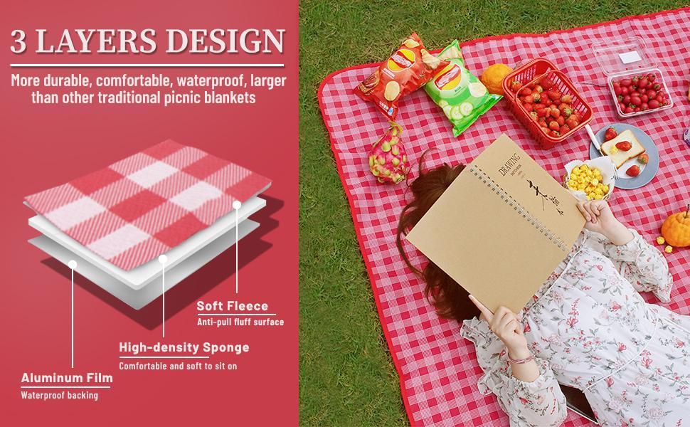 3 layers design pinic mat high quality picnic blankes