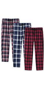 JINSHI Men's check cotton pyjama bottoms