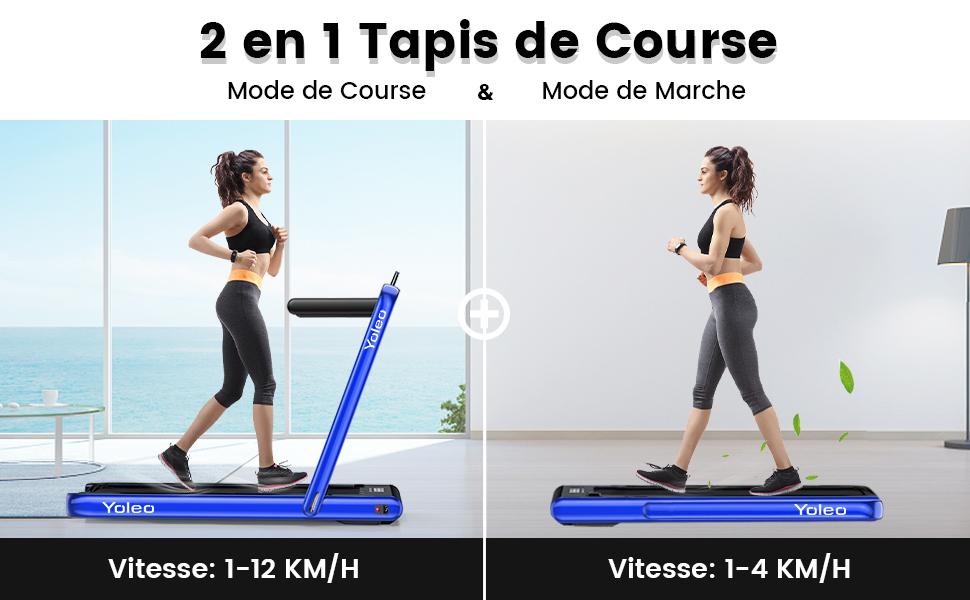 2 en 1 Tapis de Course et Tapis de Marche