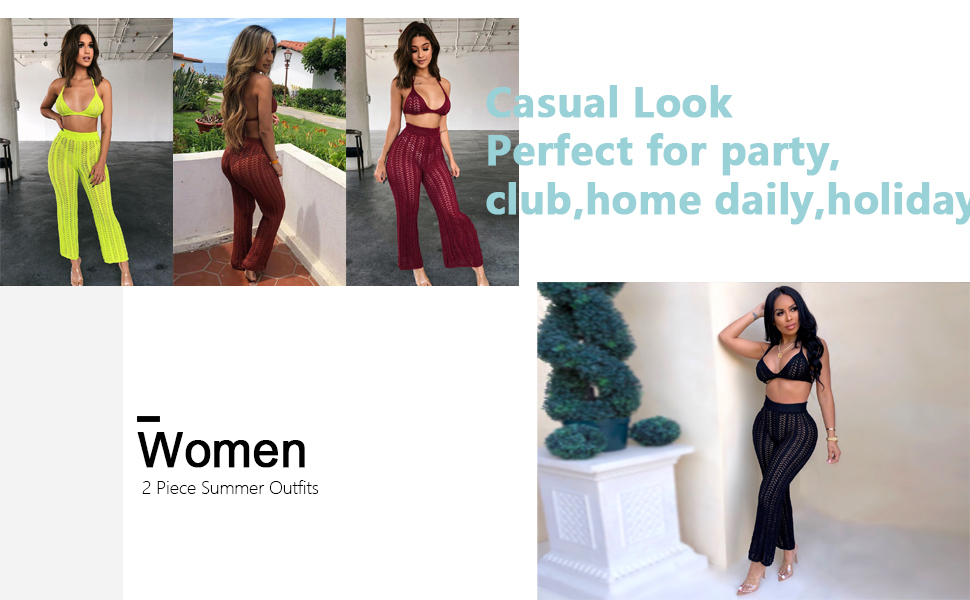 Women Two Piece Outfits Hollow Out Knitted Halter Crop Top Long Pant Set Bikini Cover Up