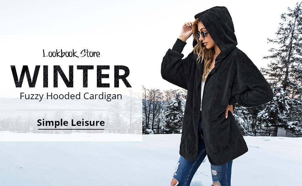 Lookbook Store Women's Fleece Fuzzy Casual Open Front Cardigan Coat Pocket Jacket