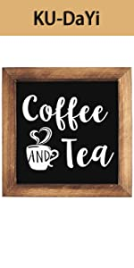 Coffee and Tea Framed Block Sign 7 x 7 inches Rustic