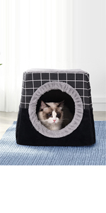 Pet Bed elf-Warming 2 in 1 Cat Tent Cave for Kittens and Small Dogs Washable Cushion Indoor Outdoor