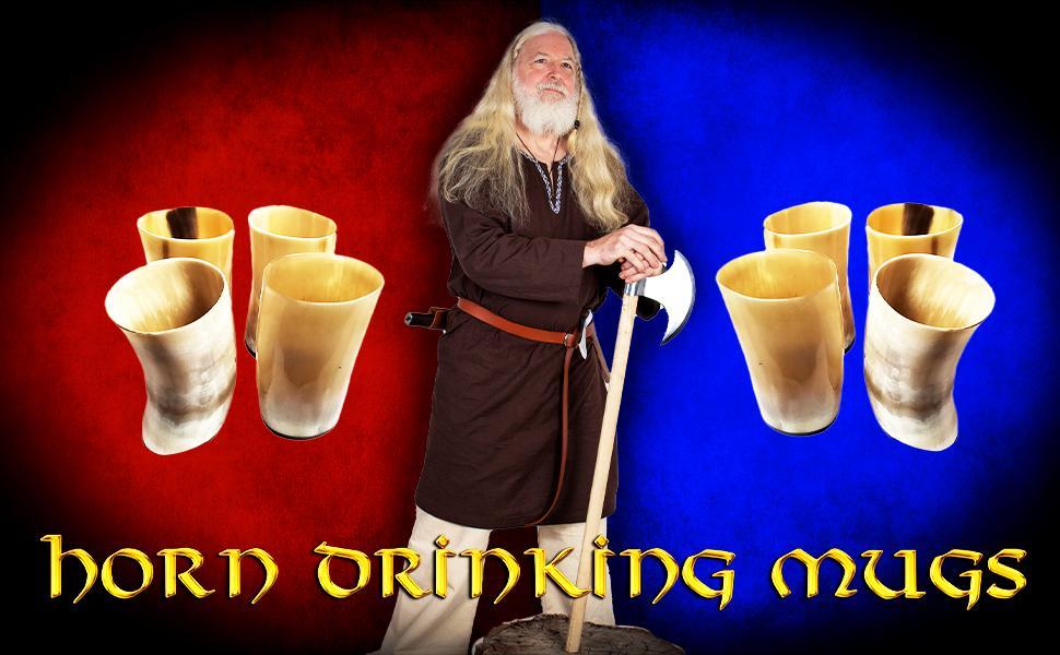 Mythrojan horn MUGS tankard mug tankards Viking Drinking Horn Glass, Norse Medieval Short Glass