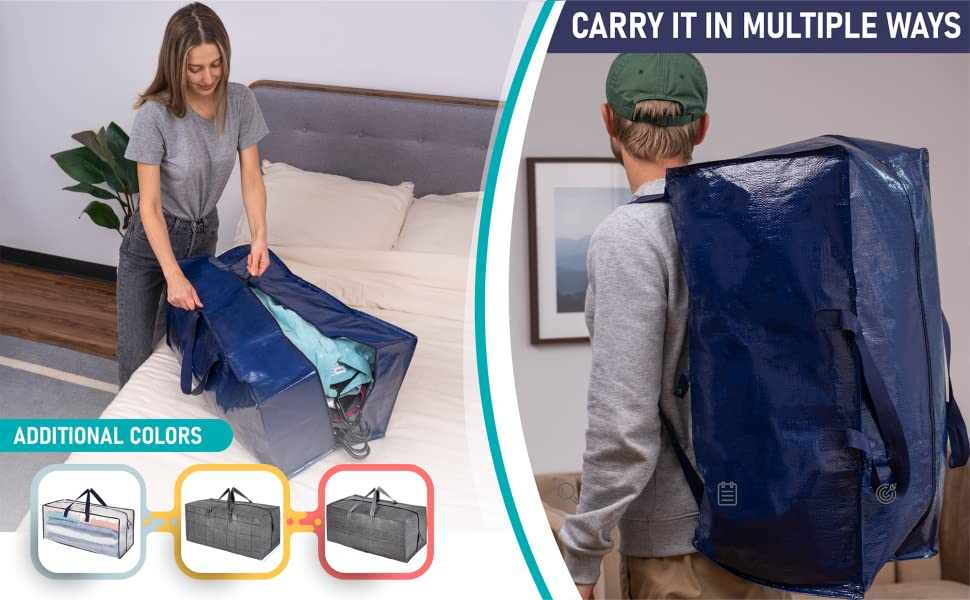 VENO moving bags can be carries as a backpack, it comes in blue, black, clear (transparent)