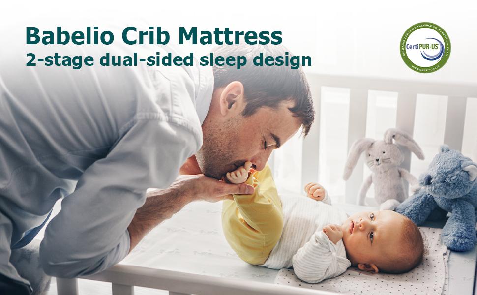 Babelio crib mattress; 2-stage sleep design
