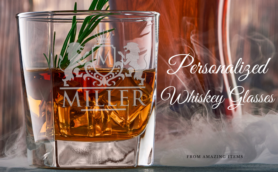 Personalized Whiskey Glasses Set Bourbon Liquor Lead Free Crystal Glass Gifts