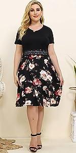 Short sleeve Lace Swing a-line dress