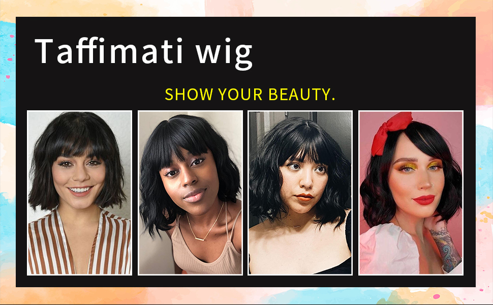 black wig with bangs curly hair wig  short black wig wavy bob wig black short wig curly bob wig