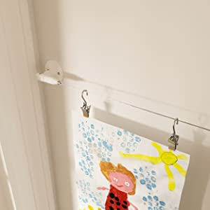 art hanging wire with clips wire curtain rod artwork display for kids art kids art display