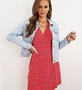 GRAPENT Womenamp;#39;s Basic Buttons Down Denim Jacket Classic Jean Trucker Jacket Coat