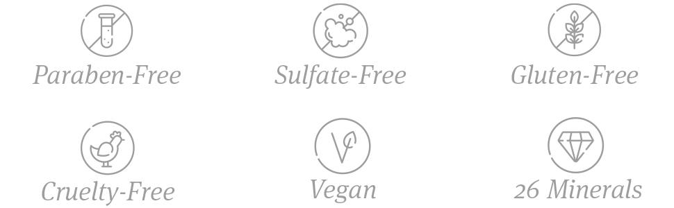 paraben free sulfate free gluten free cruelty free vegan 26 dead sea minerals