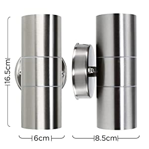 Modern Stainless Steel Outdoor Garden Up/Down Security Wall Light - IP44 Rated