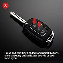 Press and hold Key Fob lock and unlock buttons