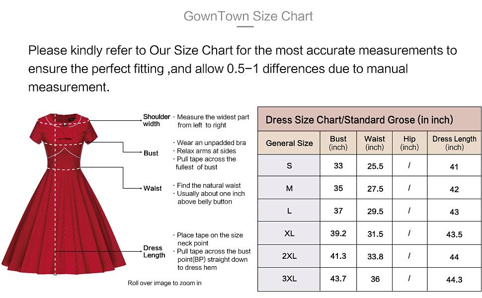 Gowntown sizechart