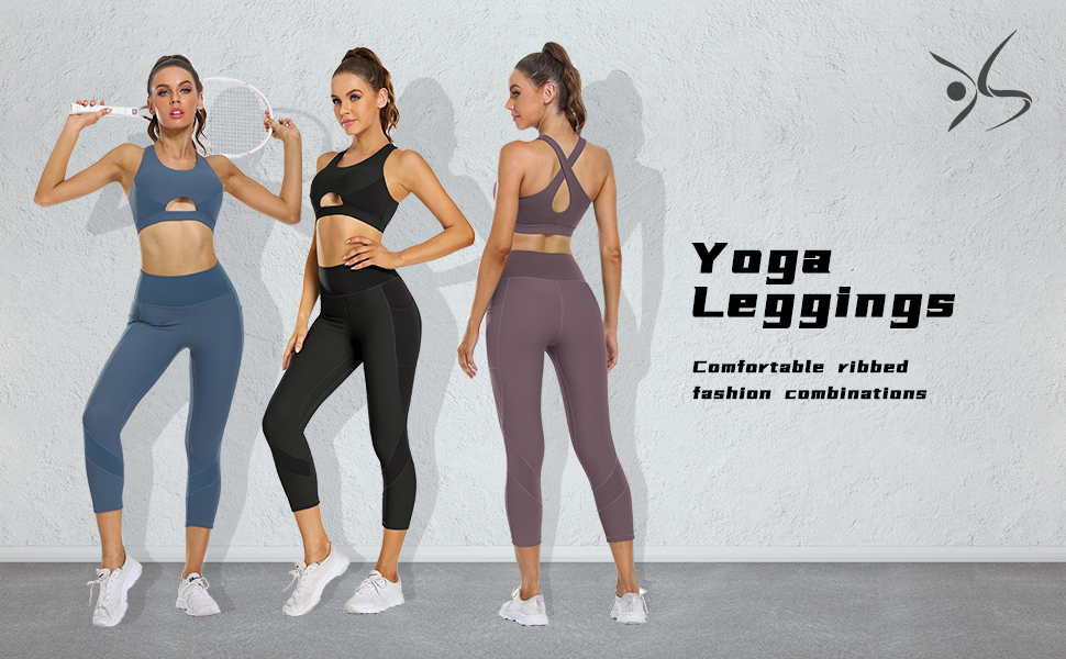 OUYISHANG Ribbed capris leggings with pockets for women running sports