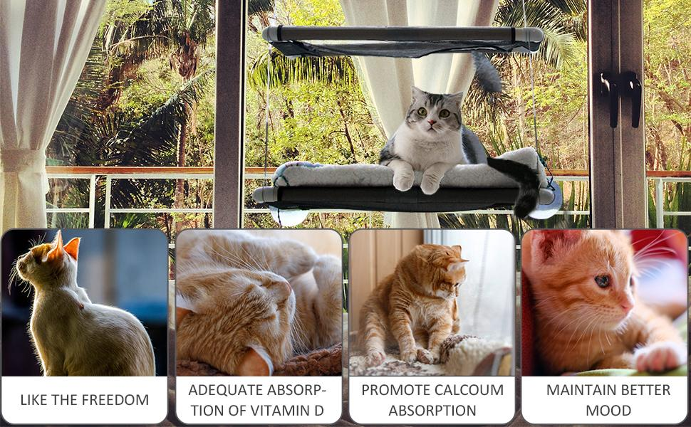 Up to 55 lbs, Space-Saving Cat Bed, Pet Kitty Resting Seat Safety Cat Hammock for Large Cats