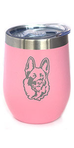 Cute design of a happy German Shepherd face, engraved on a pink wine tumbler.