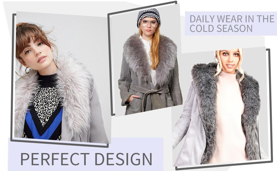 Women's Faux Suede Long Jacket,Lapel Outwear Trench Coat Cardigan with Detachable Faux Fur Collar