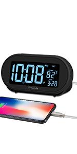 alarm clock for bedroom with date