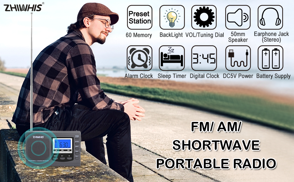 FM AM Shortwave Portable Radio