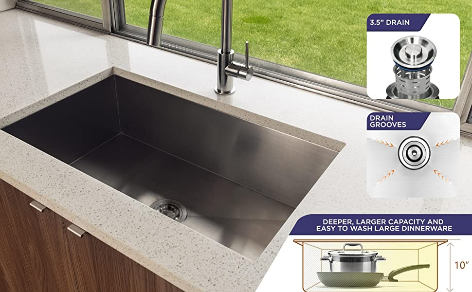 Vuzati Sink installed with features on the side