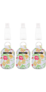 VIBRANZ-LAB Mini Backpack Keychain Set of 3 Floral Neoprene Purse Chapstick Containers