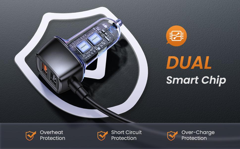 USB car charger dual smart chip safe