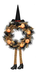 Halloween Witch Pumpkin Wreath
