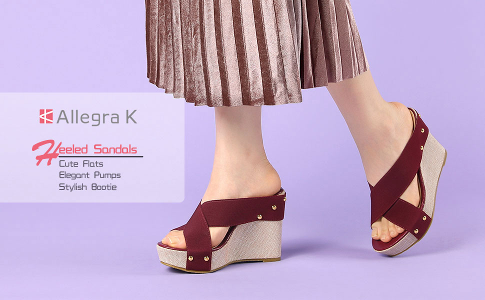 Allegra K Women's Platform Slide Wedge Sandals