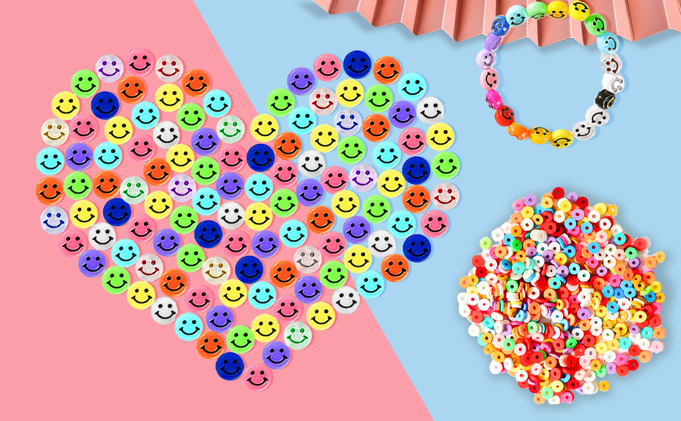 600 pcs Smiley Face Beads