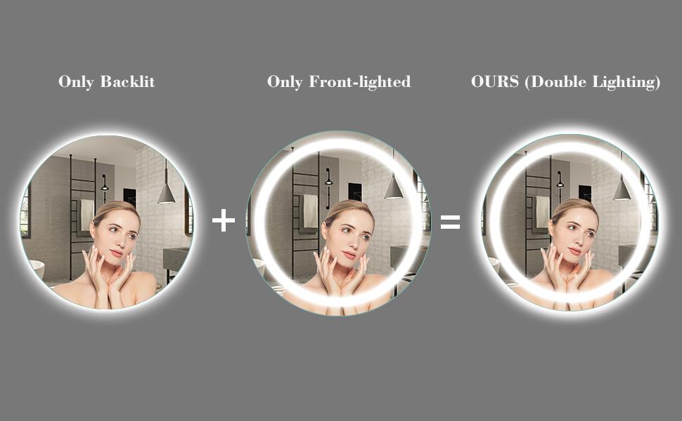 backlit round mirror