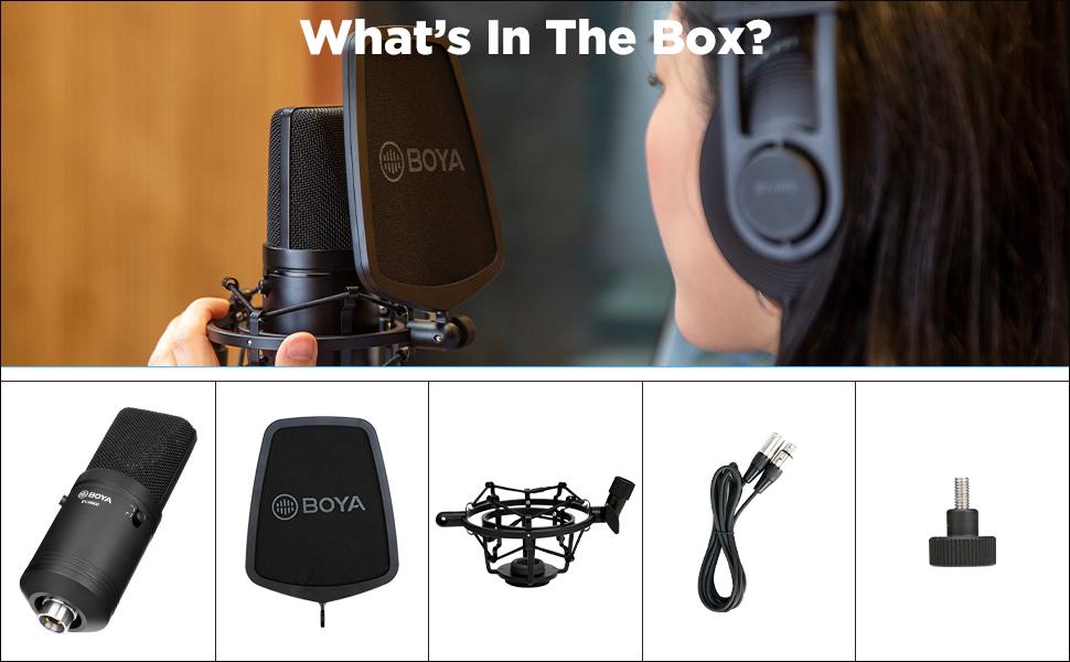 boya xlr condenser studio microphone