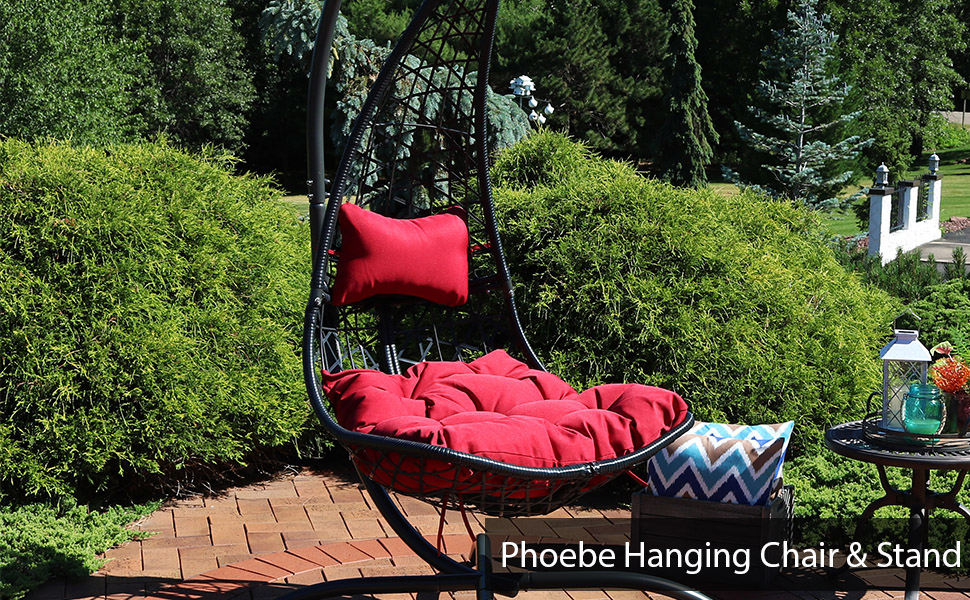 Sunnydaze Phoebe Hanging Lounge Chair with Seat Cushions and Steel Stand - Red