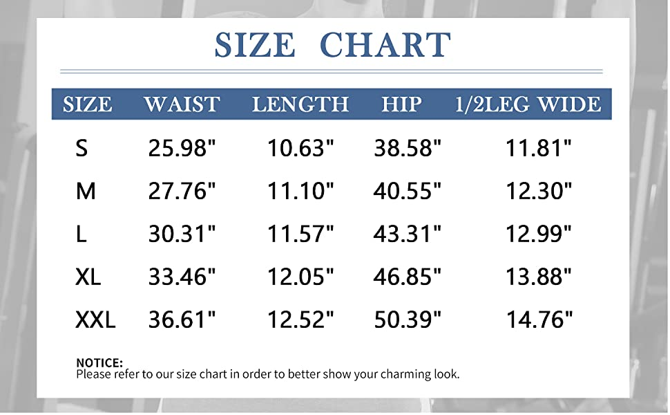 Shorts for Women Size Chart