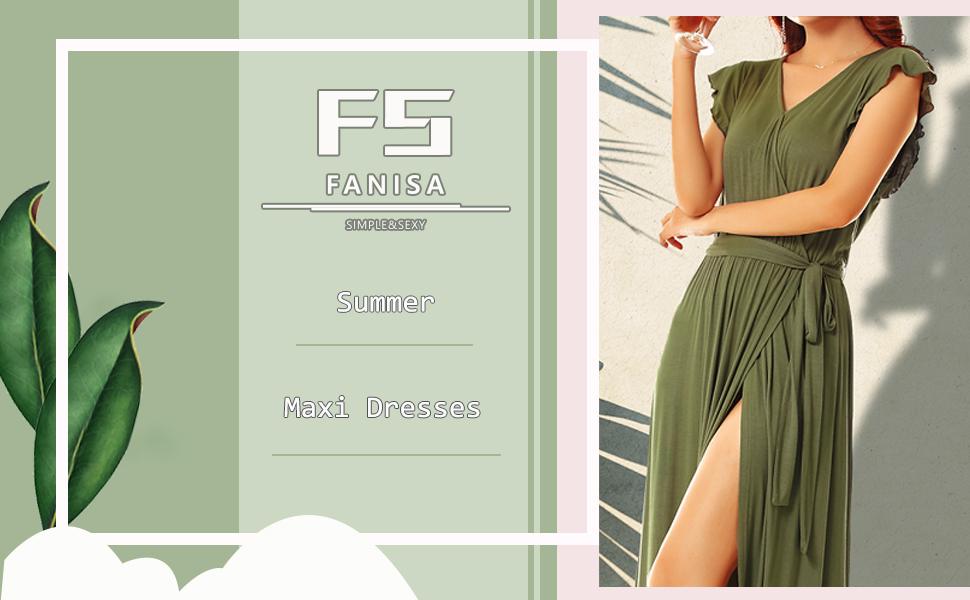 Womens Summer Side Split Maxi Dress Formal Dresses for women