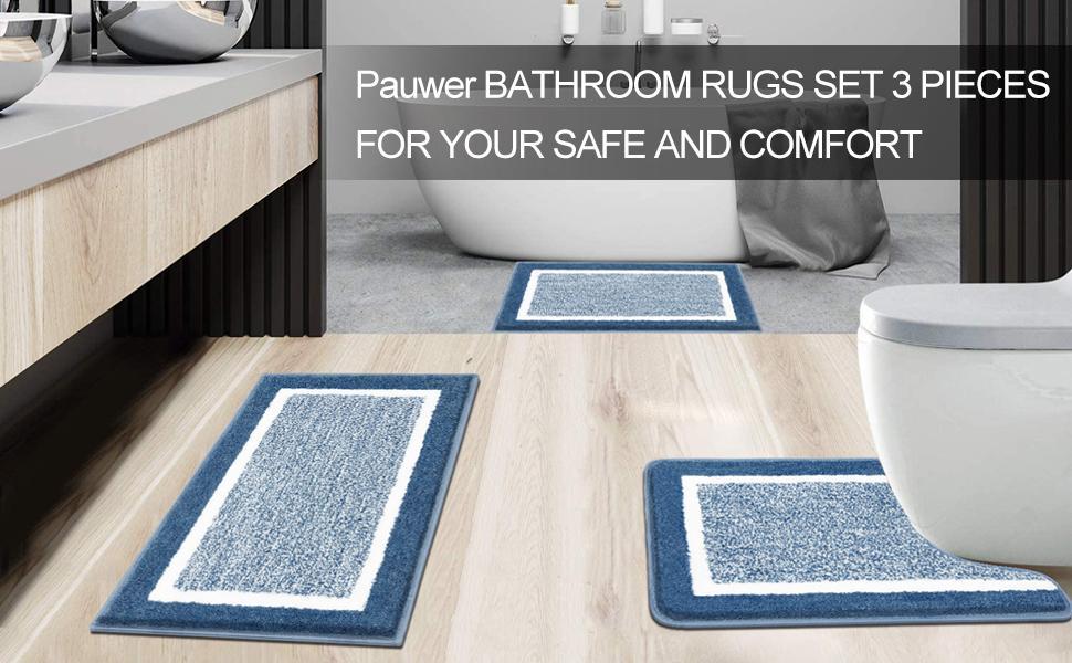 Bathroom Rugs Set 3 Pieces Microfiber Plush Shower Mat Carpets Soft and Absorbant Shaggy Bath Rugs