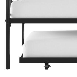 Zoom in on bottom of black metal daybed and roll-out trundle with casters with mattresses.