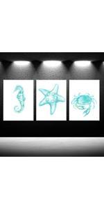 Blue Ocean Theme Baby Nursery Boy Room Wall Decor coastal paintings fwall decorations for bathroom