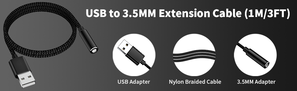 usb to 3.5mm adapter extension cable