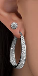 sparkle inside out outside in crystal ball stud hoop earrings earring gifts prom wedding gifts