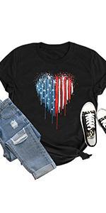 Women Patriotic Firework T-Shirt 4th of July American Flag Shirt Casual Stars Stripe Tee Top