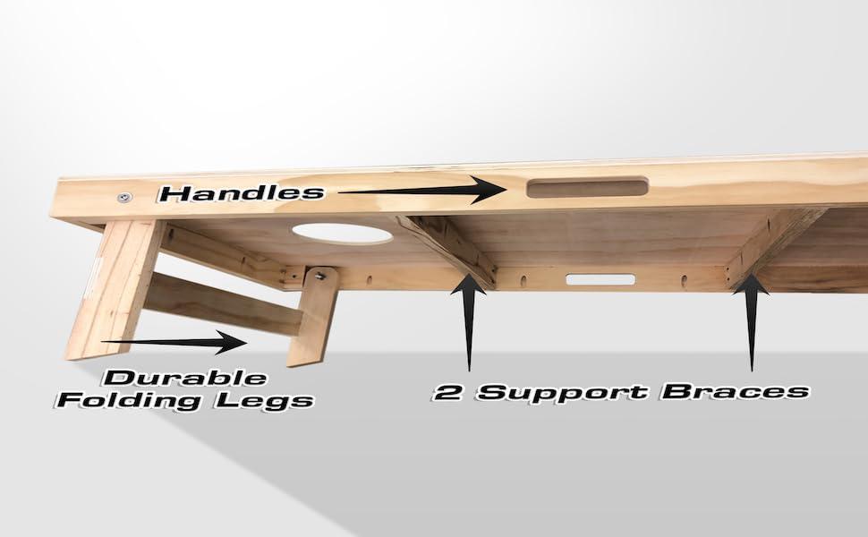Cornhole Board Specification Handles Durable Legs 2 Support Braces